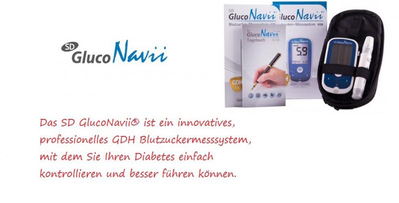StarterSet GlucoNavii GDH Blutzuckermessgerät mg/dl mit 50 Teststreifen
